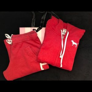 VS Pink Red Sweatsuit WHOLE SET
